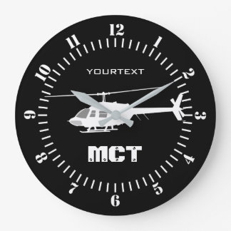 Personalized Helicopter Chopper Silhouette on a Large Clock
