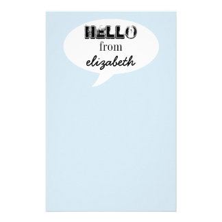 Personalized Hello Customized Stationery