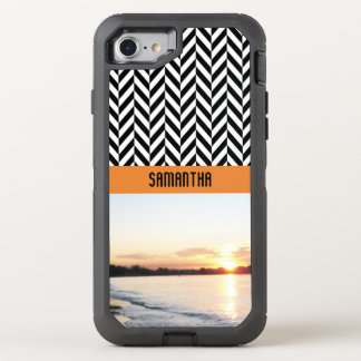 Personalized Herringbone Sunset Colors - OtterBox Defender iPhone 7 Case