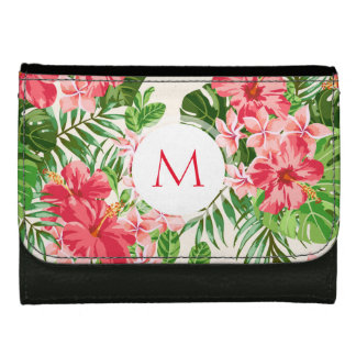 Personalized Hibiscus Flower Monogram Wallet
