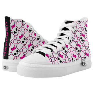 Personalized High Top Shoes/Girly Skulls Printed Shoes