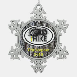 "Personalized Hiking ""iHIKE"" Tree Bark Ornamet Snowflake Pewter Christmas Ornament"