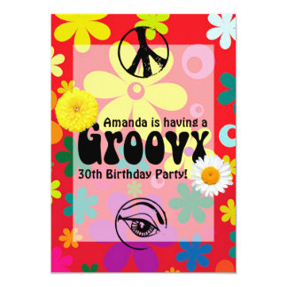 Personalized Hippie Themed Party 13 Cm X 18 Cm Invitation Card