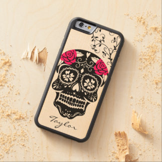 Personalized Hipster Black & Hot Pink Sugar Skull Carved Maple iPhone 6 Bumper Case