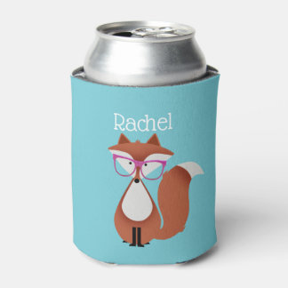 Personalized Hipster Fox Can Cooler