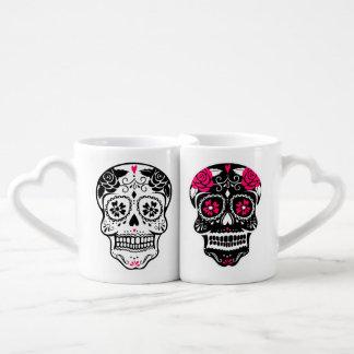 Personalized Hipster Sugar Skull Couples Mug