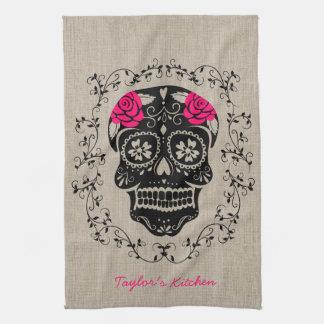 Personalized Hipster Sugar Skull Tea Towel