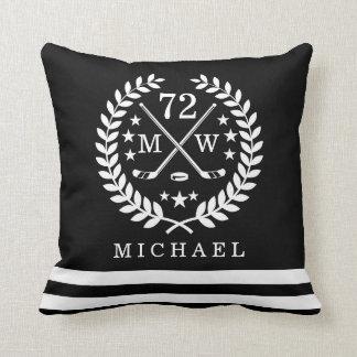 Personalized Hockey Player All-Star Black Cushion