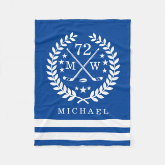 Personalized Hockey Player All Star Blue Fleece Blanket