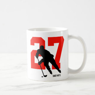 Personalized Hockey Player Number Red Coffee Mug