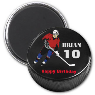 Personalized Hockey Puck Birthday Magnet