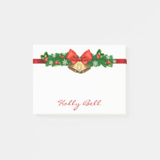 Personalized Holiday Christmas Wreath Bells Post-it Notes