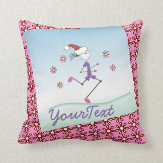 Personalized - Holiday Girl Runner Throw Pillow