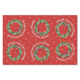 Personalized Holiday Wreath & Gold Hearts Tissue Paper