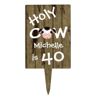 Personalized Holy Cow 40th Birthday Cake Topper