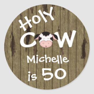 Personalized Holy Cow 50th Birthday Stickers