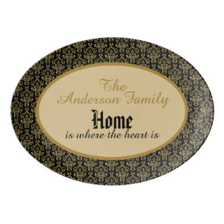 "Personalized ""Home is where the heart is"" Platter Porcelain Serving Platter"