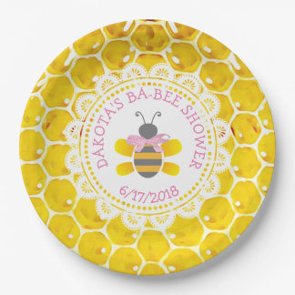 Personalized Honey and Bee Baby Shower  Pink Bow Paper Plate