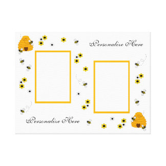Personalized Honey Bumble Bee Canvas Wall Art