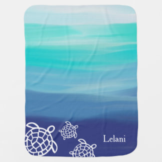 Personalized Honu Sea Turtles Ocean Waters Baby Blanket