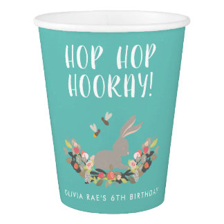 Personalized Hop Hop Hooray Rabbit Birthday Party Paper Cup