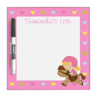 Personalized Horse Riding Hearts Dry Erase Board