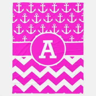 Personalized Hot Pink Chevron Anchors Pattern Fleece Blanket
