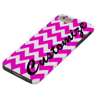 Personalized Hot Pink Chevron Pattern Tough iPhone 6 Plus Case