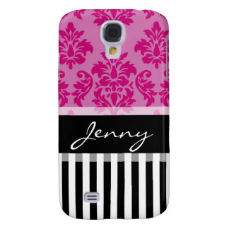 Personalized Hot Pink Damask Black Stripes Galaxy S4 Cases