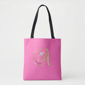 Personalized Hot Pink Gold Monogram Letter A Tote Bag