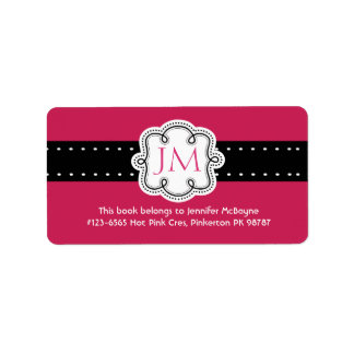 Personalized Hot Pink Ladies Initials  Bookplate Label