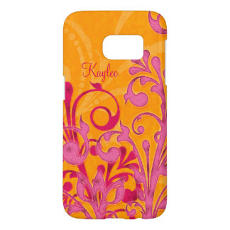 Personalized Hot Pink Orange Abstract Floral