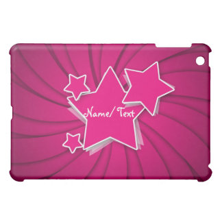Personalized Hot Pink Stars and Swirl Background iPad Mini Cover
