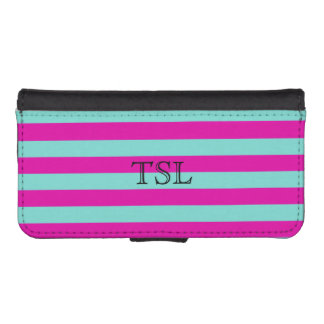 Personalized Hot Pink Striped Pattern iPhone SE/5/5s Wallet Case
