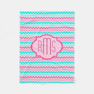Personalized Hot Pink Turquoise Blue Ombre Chevron Fleece Blanket
