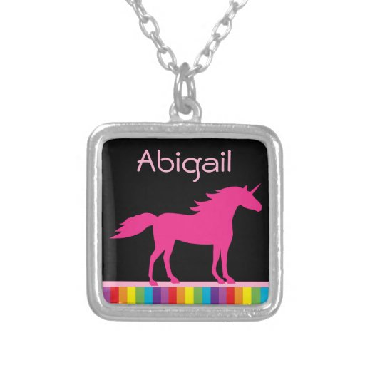 Personalized Hot Pink Unicorn and Rainbow Necklace
