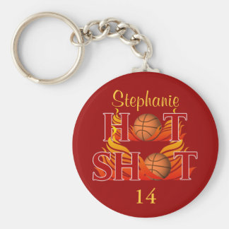 Personalized Hot Shot Name and Number Keychain