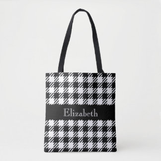 Personalized Houndstooth Black Plaid Tote Bag