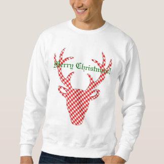 Personalized Houndstooth Christmas Reindeer Sweatshirt