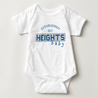 Personalized Houston Heights Blue and White Tile Baby Bodysuit
