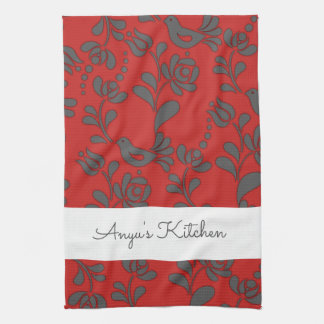 Personalized Hungarian Folk Art Tea Towel