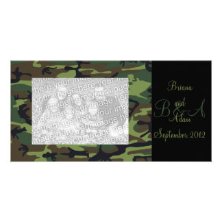 Personalized Hunter Green Camo Frame Photocard Card