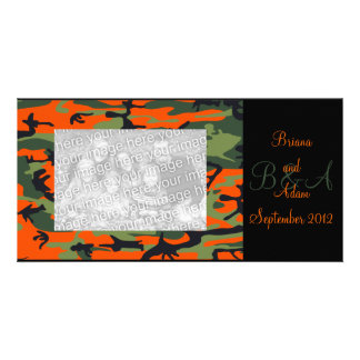Personalized Hunter Orange Camo Frame Photocard Card