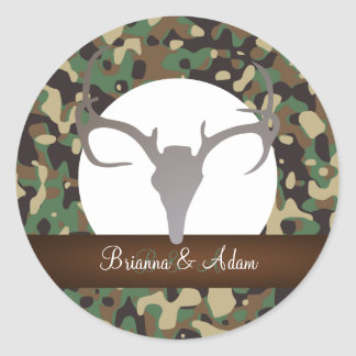 Personalized Hunting Theme Antlers Camo Wedding Classic Round Sticker