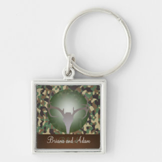 Personalized Hunting Theme Deer Antlers Camo Key Ring