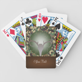 Personalized Hunting Theme Deer Antlers Green Camo Bicycle Playing Cards