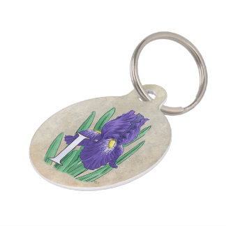 Personalized I for Irises Flower Monogram Pet Tag