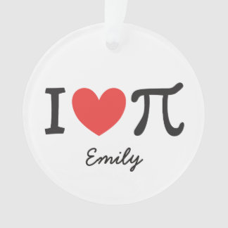 Personalized I heart Pi Ornament
