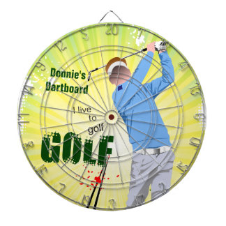 Personalized I Live to Golf Golfer Dartboard