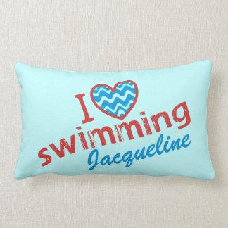 Personalized I love (heart) Swimming Lumbar Cushion